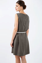 Load image into Gallery viewer, Khaki Colour Straight Dress With Belt