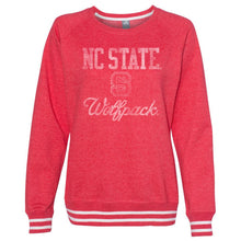 Load image into Gallery viewer, Official NCAA NC State Wolfpack 30nc-1 Women's Crewneck Sweatshirt With White Striped Edges