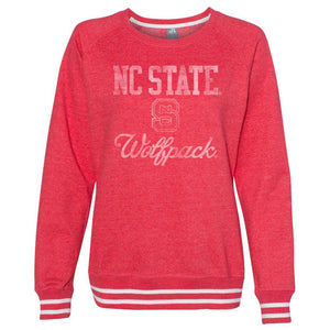 Official NCAA NC State Wolfpack 30nc-1 Women's Crewneck Sweatshirt With White Striped Edges
