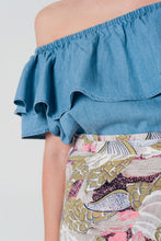 Load image into Gallery viewer, Denim Off Shoulder Ruffle Crop Top