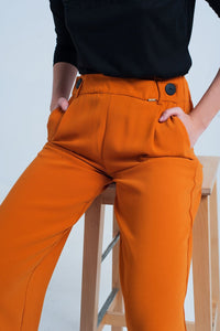 Orange Wide Leg Pants With Buttons