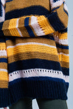 Load image into Gallery viewer, Mustard Chunky Knit Striped Maxi Sweater