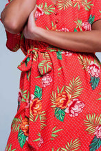Load image into Gallery viewer, Red Dress With V-Neck and Floral Print