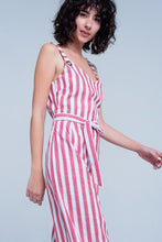 Load image into Gallery viewer, Red Belted Striped Jumpsuit
