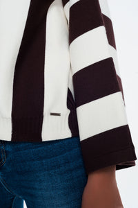 Scoop Neck Sweater in Mono Stripe in Brown