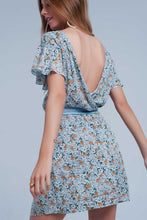 Load image into Gallery viewer, Blue Dress With Flower Print