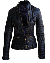 Load image into Gallery viewer, Women Black Brando Padded Leather Jacket