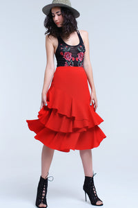 Red Midi Skirt With Ruffle Detail