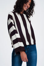 Load image into Gallery viewer, Scoop Neck Sweater in Mono Stripe in Brown