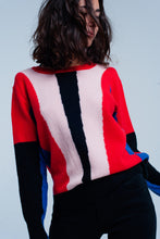 Load image into Gallery viewer, Red and Black Color Block Sweater