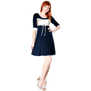 Evanese Women's Short 3/4 Sleeve Cocktail Day Dress With Contrast Band Cuffs