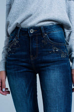 Load image into Gallery viewer, Dark Wash High Waist Jeans With Rhinestone Details
