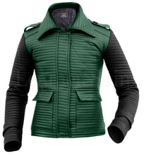 Load image into Gallery viewer, Women Rib Quilted Green Leather Jacket