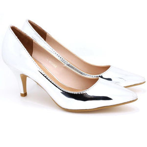 Metallic Pointed Toe Pumps (Silver)