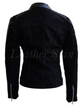 Load image into Gallery viewer, Women Black Suede Leather Jacket