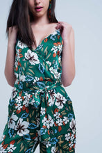 Load image into Gallery viewer, Green Jumpsuit With Floral Print