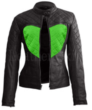Load image into Gallery viewer, Women Black Green Heart Leather Jacket