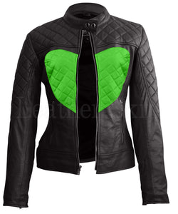 Women Black Green Heart Leather Jacket