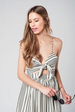 Load image into Gallery viewer, Stripe Bow Midi Dress in Beige