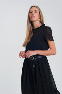 Ruffle Hem Midi Smock Dress in Polka Dot