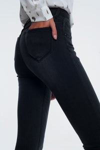 High Waist Washed Black Skinny Jeans
