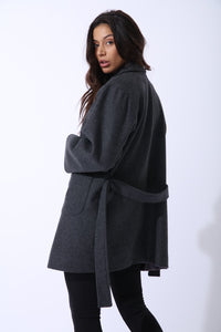 Wool Boyfriend Coat in Grey