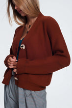 Load image into Gallery viewer, V Neck Button Front Brown Cardigan