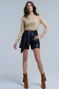 Beige Sweater With Pleated Detail