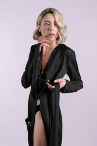 Black Silk Shirt Dress With Front Pockets