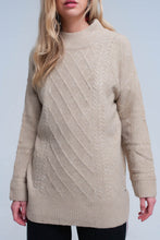 Load image into Gallery viewer, Cable Knit Beige Sweater