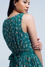 Load image into Gallery viewer, Green Mini Dress With Geo Print and Bow