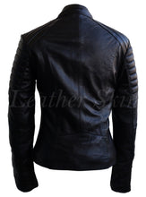 Load image into Gallery viewer, Women Black Military Leather Jacket