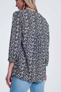 Black Printed Blouse With v Neck