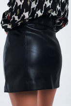 Load image into Gallery viewer, Mini Black Skirt in Faux Leather