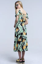 Load image into Gallery viewer, Black Midi Dress in Tropical Leaves