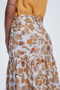 Column Midi Skirt in Jungle Floral Print