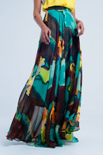 Load image into Gallery viewer, Brown Maxi Skirt With Print
