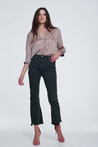 High Rise Raw Hem Flared Jeans in Khaki