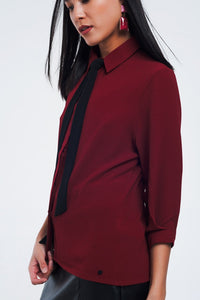 Maroon Shirt With 3/4 Sleeves
