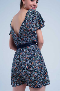 Navy Dress With Flower Print