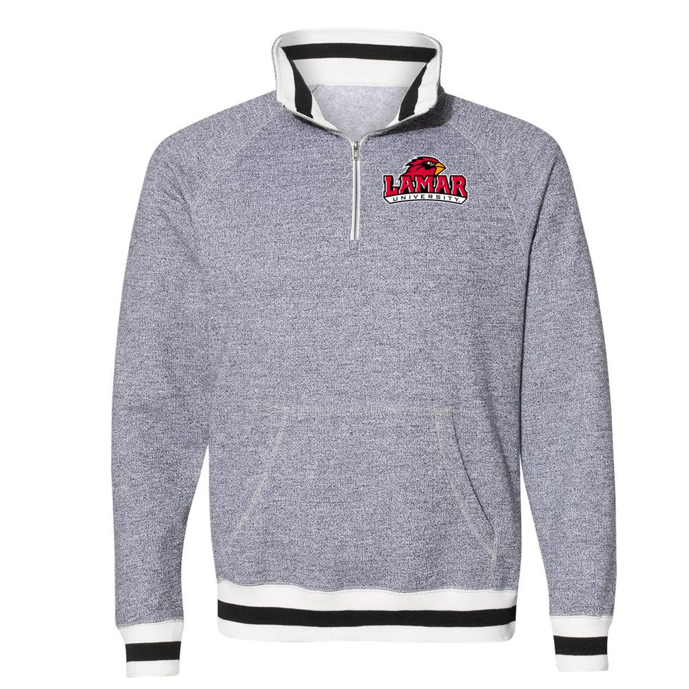 Official NCAA Lamar University Cardinals PPLAMA01 Peppered Fleece Quarter-Zip Sweatshirt