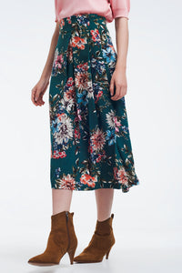 Green Floral Skirt With Box Pleats