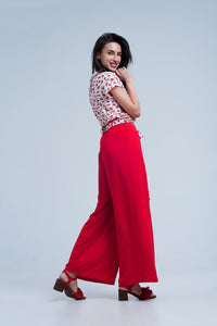 Red Pants With Floral Belt