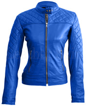 Load image into Gallery viewer, Women Blue Quilted Leather Jacket