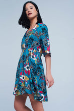 Load image into Gallery viewer, Dress With Floral Print in Turquoise