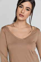 Load image into Gallery viewer, Light Brown v Neck Top