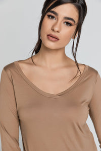 Light Brown v Neck Top