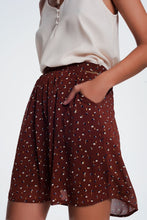 Load image into Gallery viewer, Mini Skirt Brown in Scribble Polka Dot