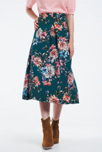 Load image into Gallery viewer, Green Floral Skirt With Box Pleats