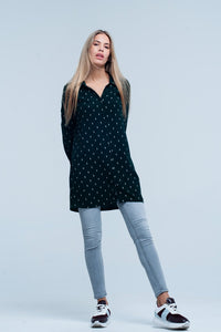 Green Longline Shirt With Silver Ribbon Pattern